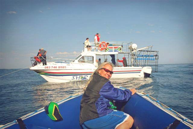 Kim Sharklady on the boat