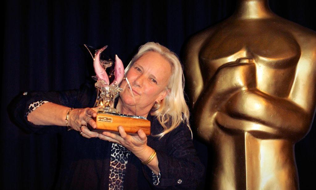 Kim Sharklady getting an award